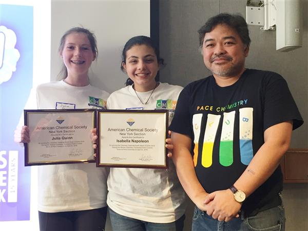 Left to right: Julia Quinn and Isabella Napoleon with Dr. Elmer-Rico Mojica of Pace University