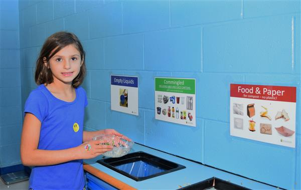 Milton Students at new Recycle station