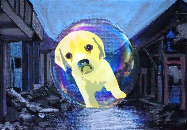 Painting of dog inside bubble